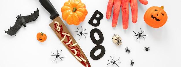 Coleção de vista superior de elementos assustadores de halloween