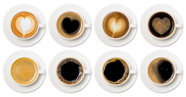 Coleção de vista superior de sortimento de xícaras de café