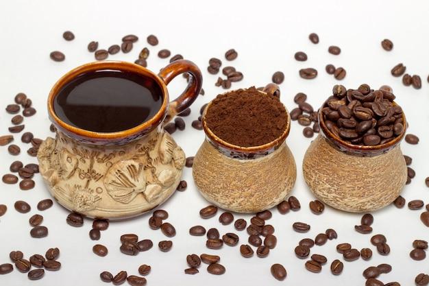 Coleção de vista superior de variedade de xícara de café
