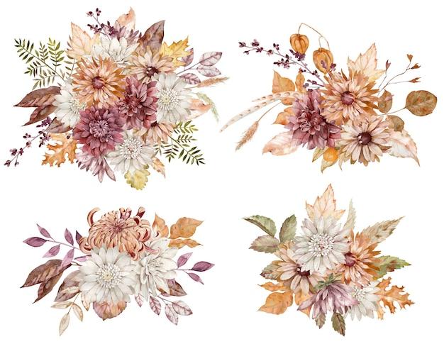 Coleção em aquarela de buquês de flores de outono. ásteres carmesins, brancos e laranja e crisântemos e folhas de outono isoladas no fundo branco.