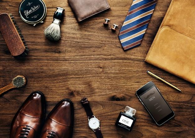 Coleção masculina de coisas usadas diariamente
