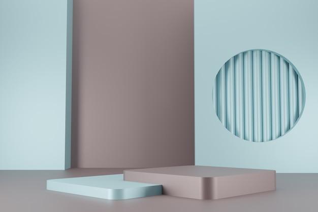 Coleção mínima do pódio de cores vintage na renderização 3d de fundo abstrato