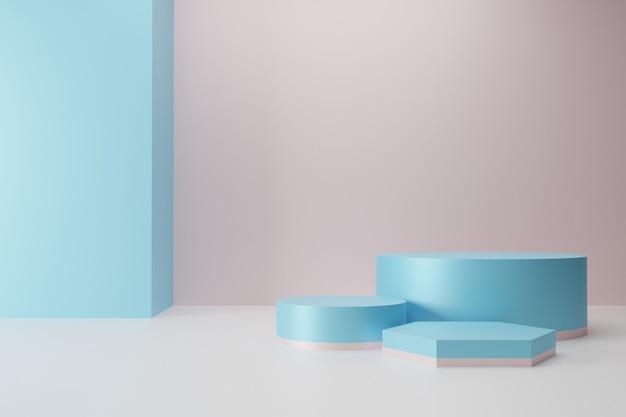 Coleção mínima do pódio rosa azul na renderização 3d de fundo abstrato