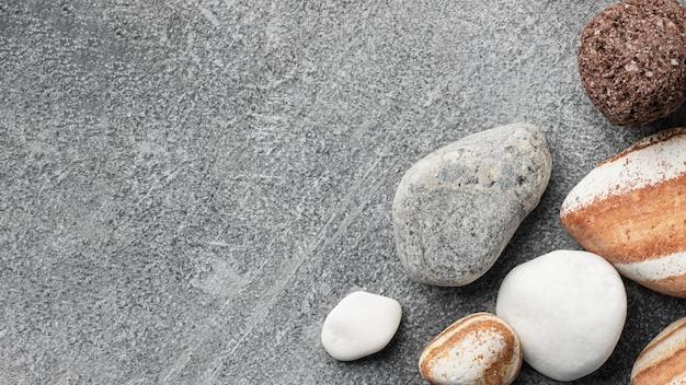 Coleção plana de pedra com espaço de cópia
