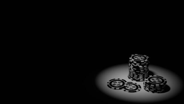 Coleção realista de casino isométrico e fichas de pôquer em fundo preto e branco
