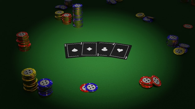 Coleção realista de cassino isométrico e fichas de pôquer sobre fundo verde