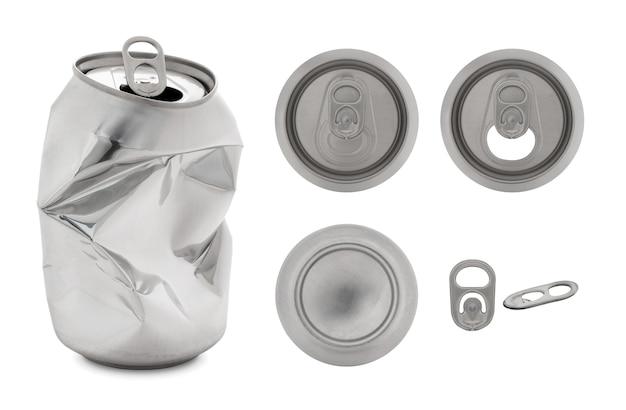 Coleção realista de lata de alumínio