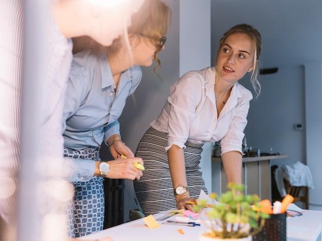 Colega do sexo feminino discutir plano de negócios no local de trabalho