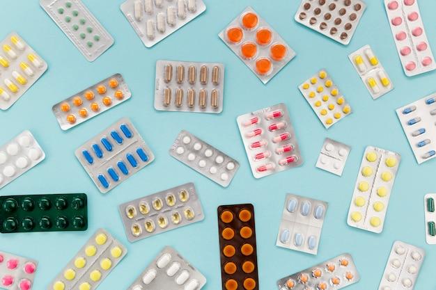 Coleta de comprimidos plana leigos