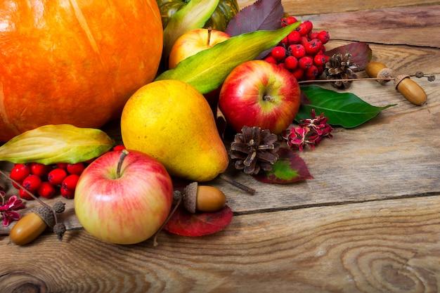 Colheita de fundo com abóbora, maçãs, pêra, folhas coloridas