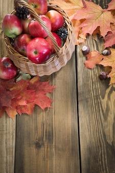 Colheita do outono, maçãs na cesta, folhas de outono coloridas.