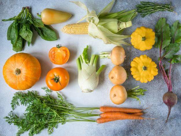 Colheita fresca de legumes plano-lay