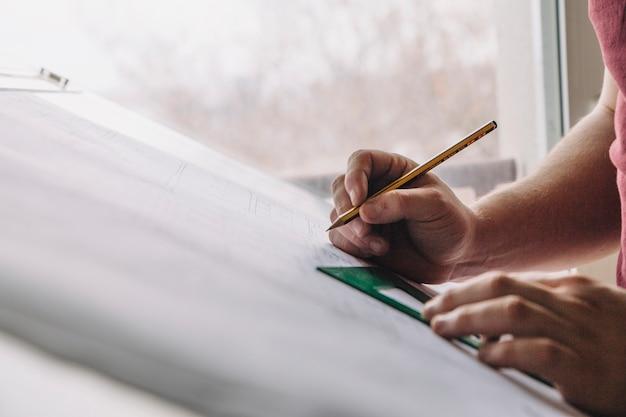 Colheita, mãos, desenho, rascunhos