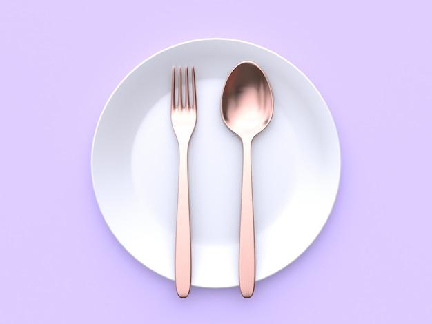 Colher de garfo de cobre metálico prato branco violeta-roxo renderização 3d mínima