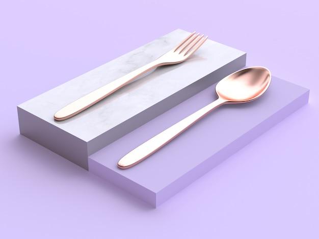 Colher de garfo metálico de cobre no pódio quadrado renderização 3d mínima abstrata