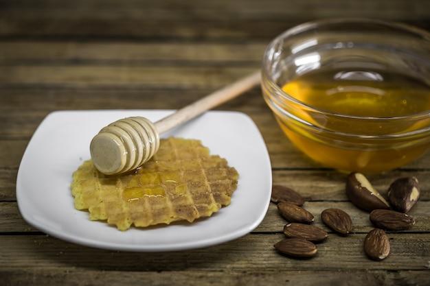 Colher de madeira para mel,