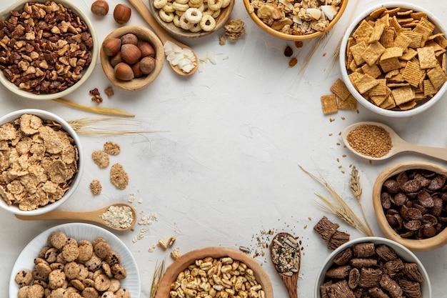 Colocação plana da variedade de cereais matinais
