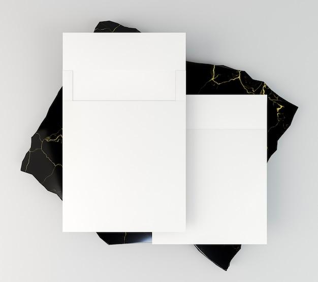 Colocação plana de papelaria corporativa em branco