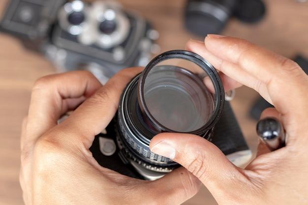 Colocar uma câmera fotográfica de filtro