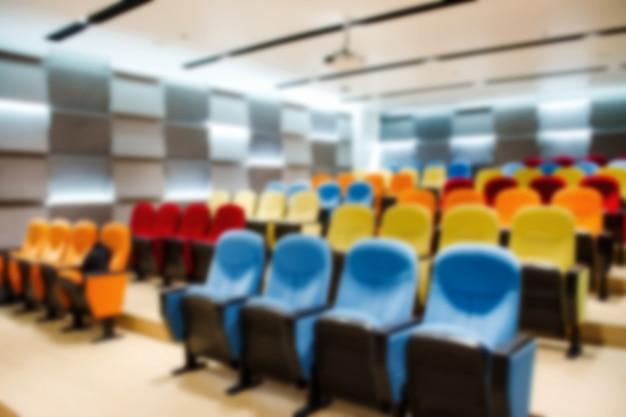 Colorido da sala de reuniões vazia.