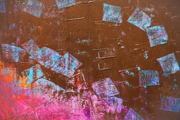 Colorido de fundo abstrato de textura de tinta acrílica na tela.