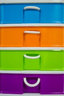 Colorido de gaveta de plástico