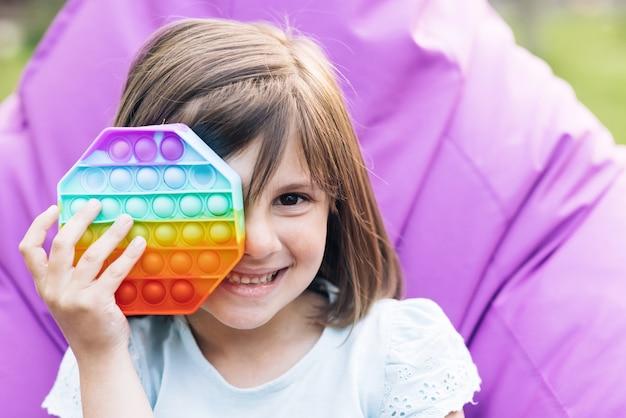 Colorido e brilhante pop it toy simples covinha moderno brinquedo sensorial antiestresse