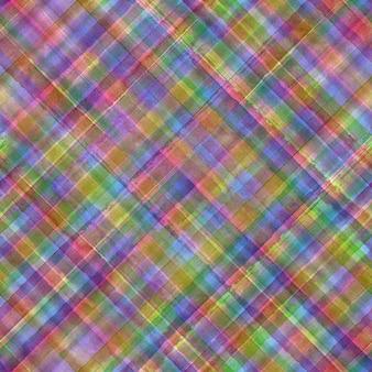 Colorido grunge guingão tartan xadrez diagonal abstrato geométrico fundo sem emenda. aquarela mão desenhada sem costura padrão com listras coloridas. papel de parede, embalagem, têxtil, tecido