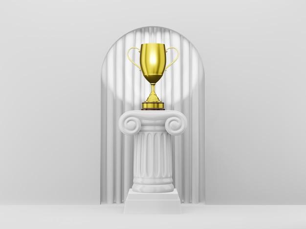 Coluna abstrata do pódio com um troféu de ouro no arco branco do fundo com curtian branco. o pedestal da vitória é um conceito minimalista. renderização em 3d.