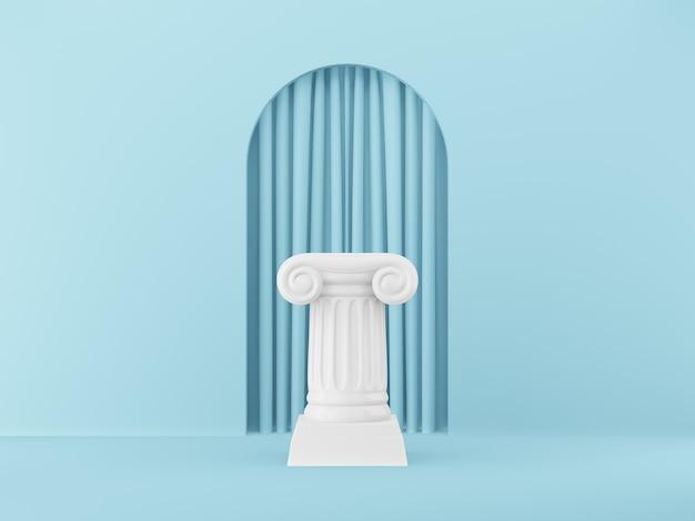 Coluna abstrata do pódio no fundo azul com arco. o pedestal da vitória é um conceito minimalista. renderização em 3d.