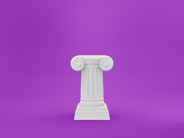 Coluna abstrata do pódio no fundo do fushcia. o pedestal da vitória é um conceito minimalista. renderização em 3d.