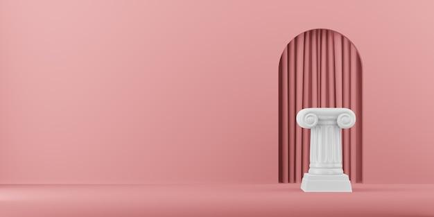 Coluna abstrata do pódio no fundo rosa com arco. o pedestal da vitória é um conceito minimalista. renderização em 3d.