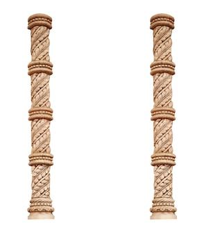 Coluna de dois clássicos gregos isolada no fundo branco.