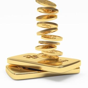 Coluna de moedas caindo em barras de ouro planas