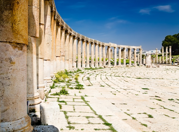 Colunas da praça oval em jerash, jordânia