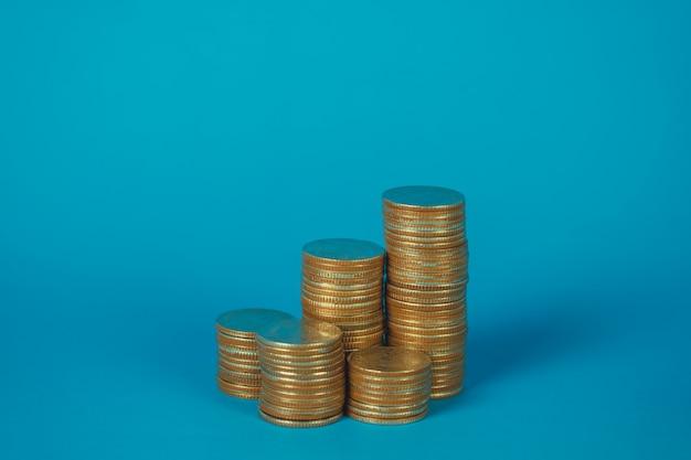Colunas de moedas, pilhas de moedas