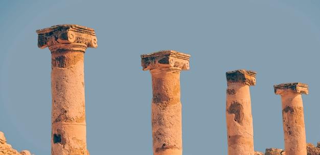 Colunas do templo. parque arqueológico de kato paphos. paphos, chipre.