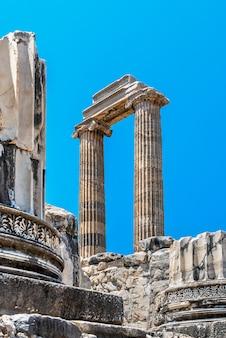 Colunas iônicas no templo de apolo em didyma, turquia