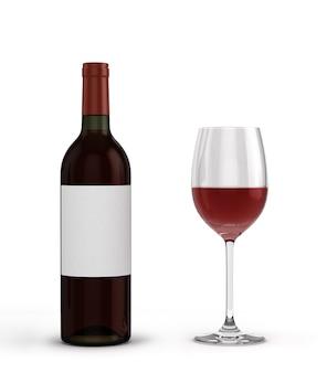 Com garrafa de vinho tinto e copo com vinho isolado no fundo branco