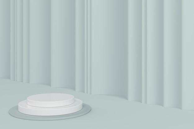 Com pódio de forma geométrica de cor branca para o produto.