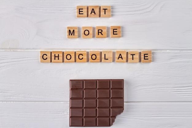 Coma mais conceito de chocolate.