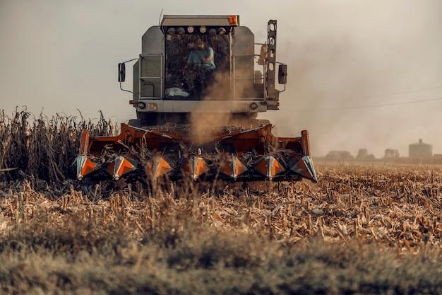 Combine a colheita de milho no campo no outono. agricultura e colheita no outono.