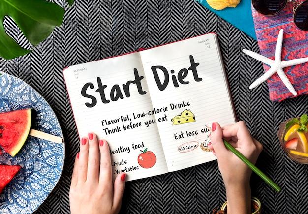 Comece a dieta nutrição comer escolha peso conceito saudável