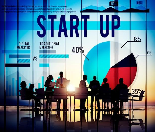 Comece acima o conceito do sucesso do mercado do negócio