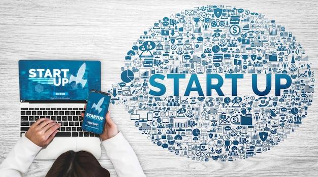 Comece o negócio do conceito criativo de pessoas