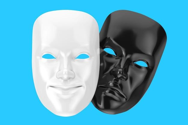 Comédia de sorriso branco e máscara de teatro grotesco de drama triste preto sobre um fundo azul. renderização 3d