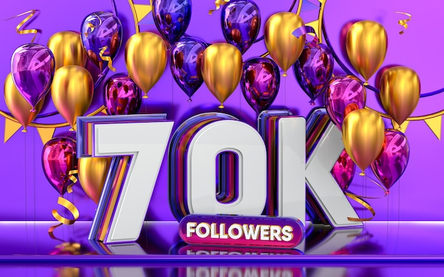 Comemoração de 70 mil seguidores, banner de mídia social com renderização 3d em balão roxo e dourado