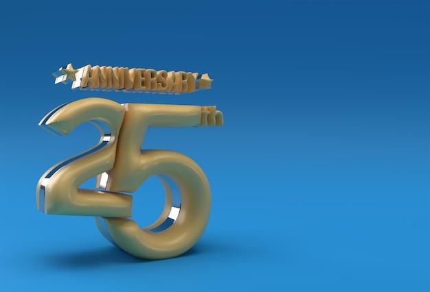 Comemoração do aniversário de 25 anos 3d rendem design de ilustração.
