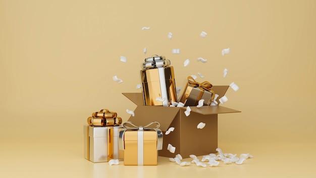 Comemorando banner cartaz festivo em fundo de ouro amarelo com caixas de presente e confetes 3d