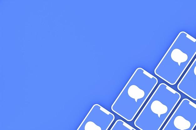 Comente a mídia social em telas de smartphone em renderização 3d